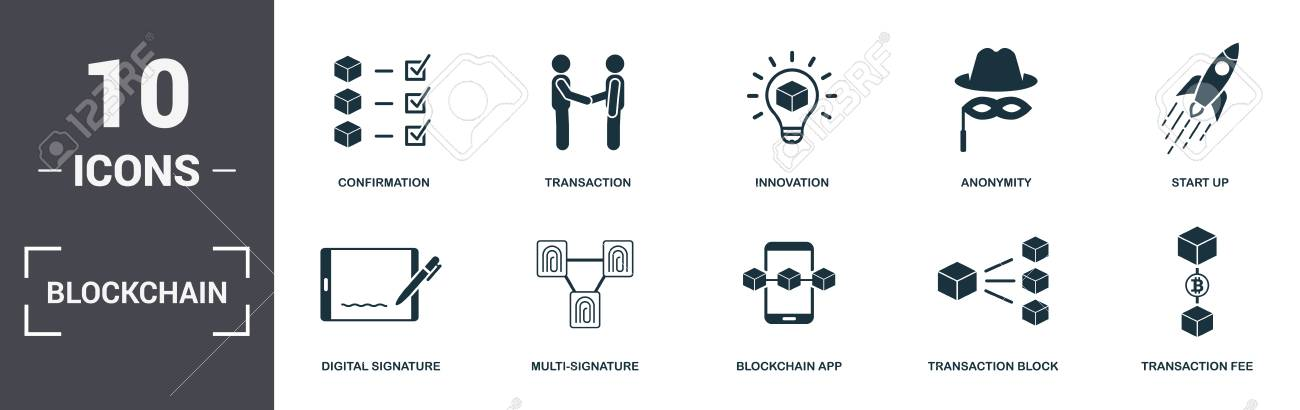 Blockchain set icons collection  Includes simple elements such