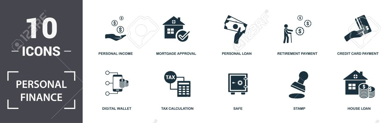 Personal Finance icons set collection  Includes simple elements