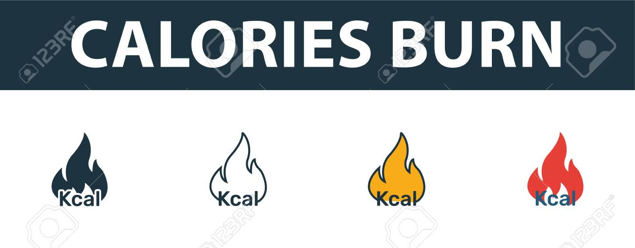 Calories Burn icon set. Premium symbol in different styles from fitness icons collection. Creative calories burn icon filled, outline, colored and flat symbols - 137698481