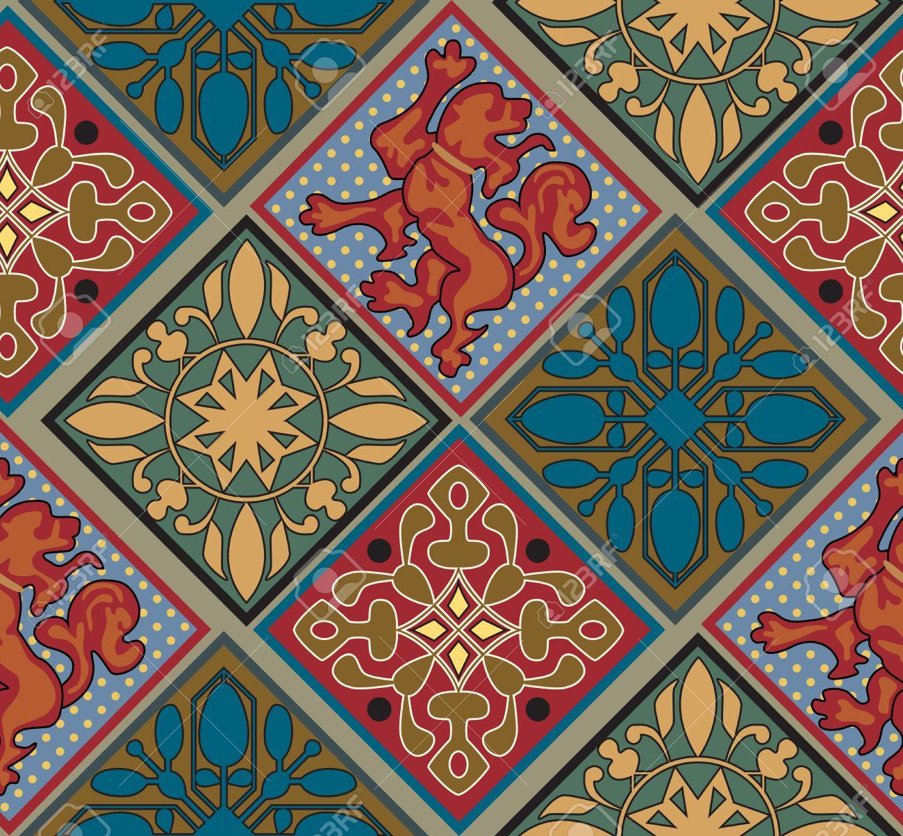 Barock Konigs Fliesen Muster Bunte Fliesen Lion Emblem Barocke