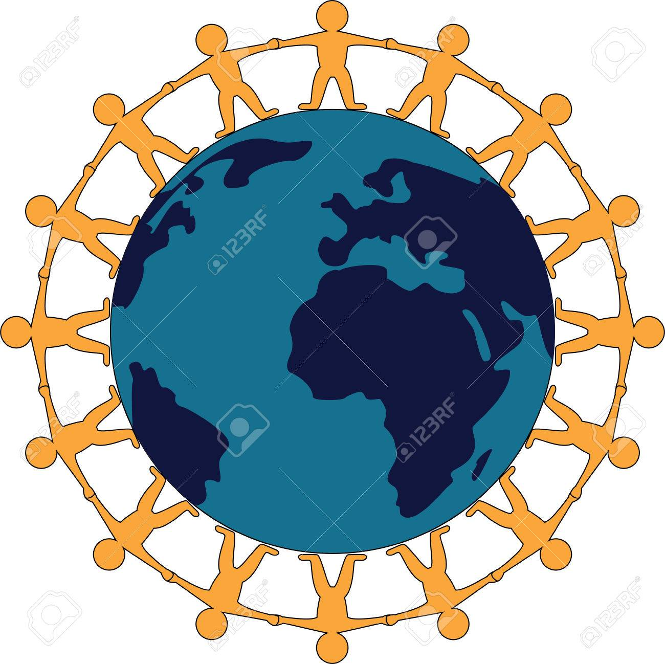 Symbol of world peace with people standing hand in hand around symbol of world peace with people standing hand in hand around the globe stock vector biocorpaavc