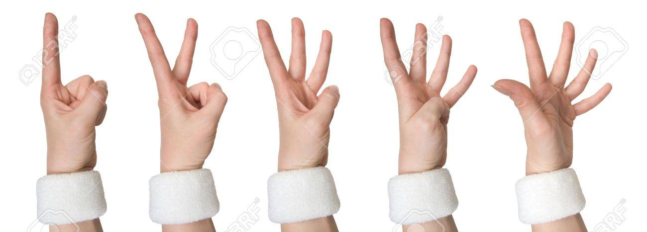 Set of woman hands in a white wristlet counting numbers one, two, three, four, five isolated on white background Stock Photo - 4813924