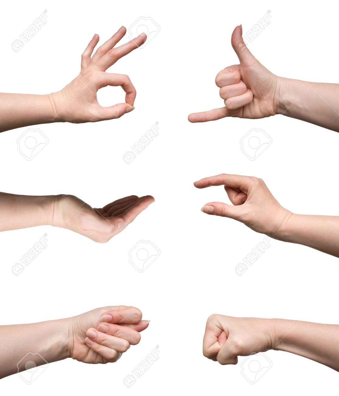 Set of gestures isolated on white background Stock Photo - 4910081