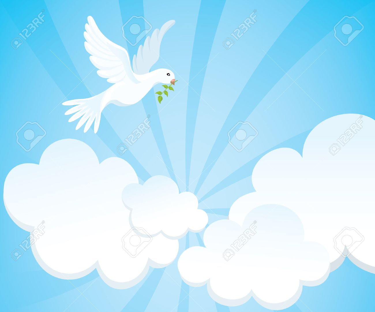 White dove with a green twig in the cloudy sky. Vector illustration. Stock Vector - 5360670