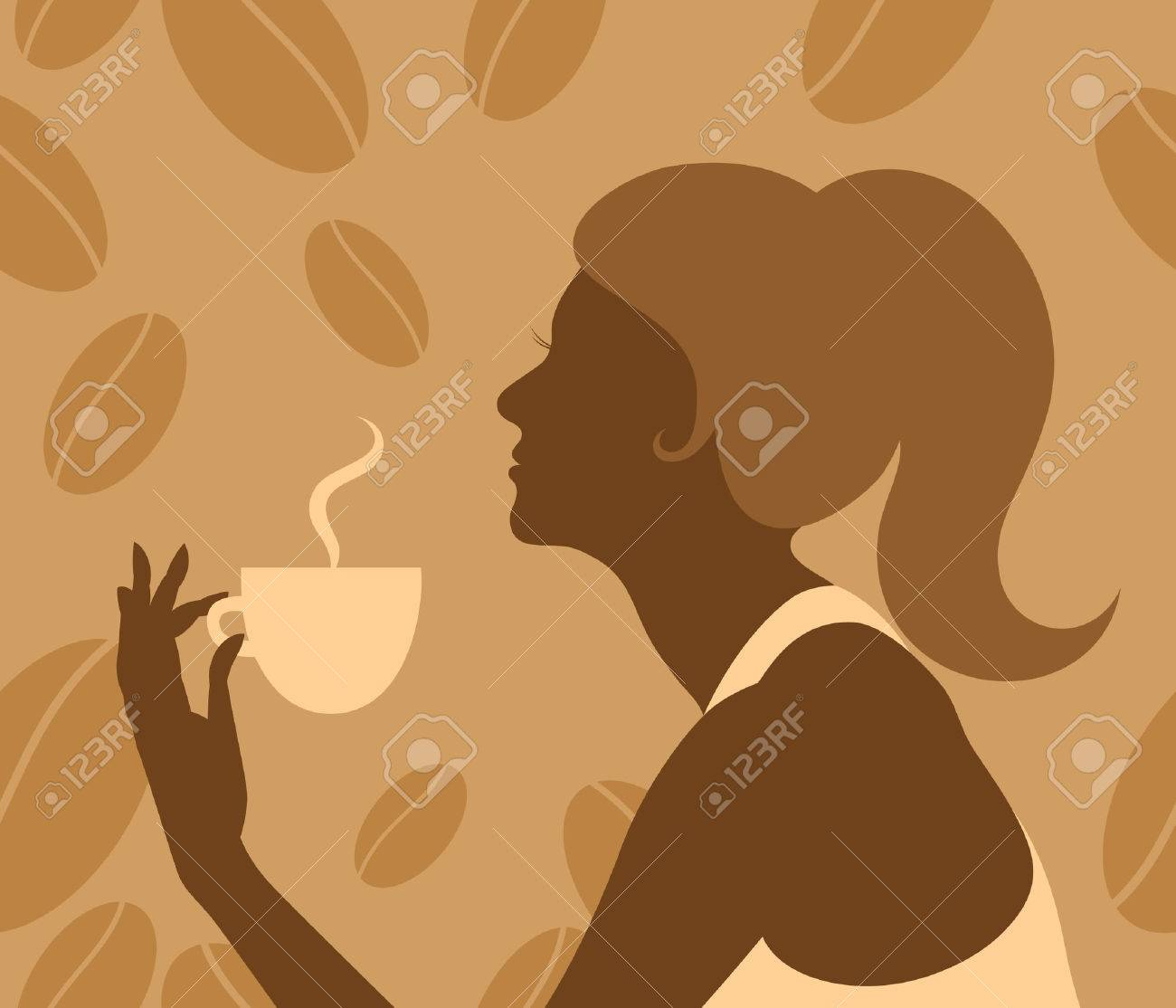 Vector silhouette of retro lady with a steaming cup on the seamless coffee beans background Stock Vector - 5605778
