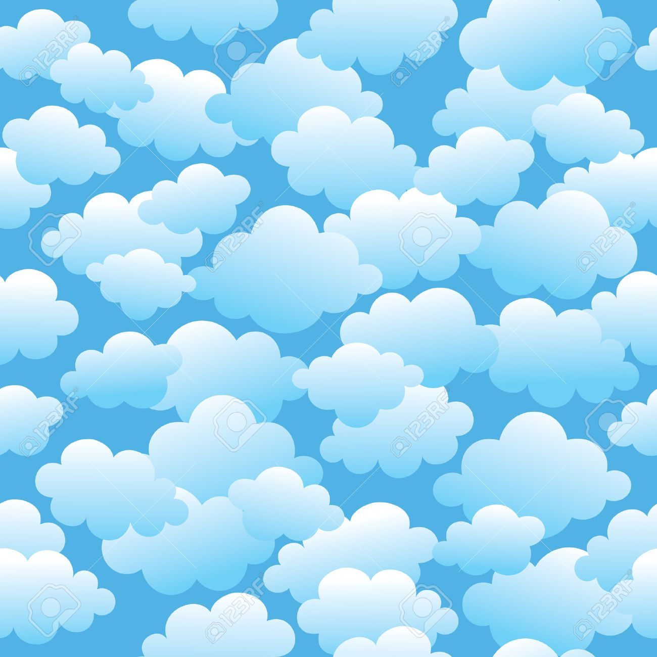 Vector seamless pattern with a lot of clouds. Stock Vector - 5757951