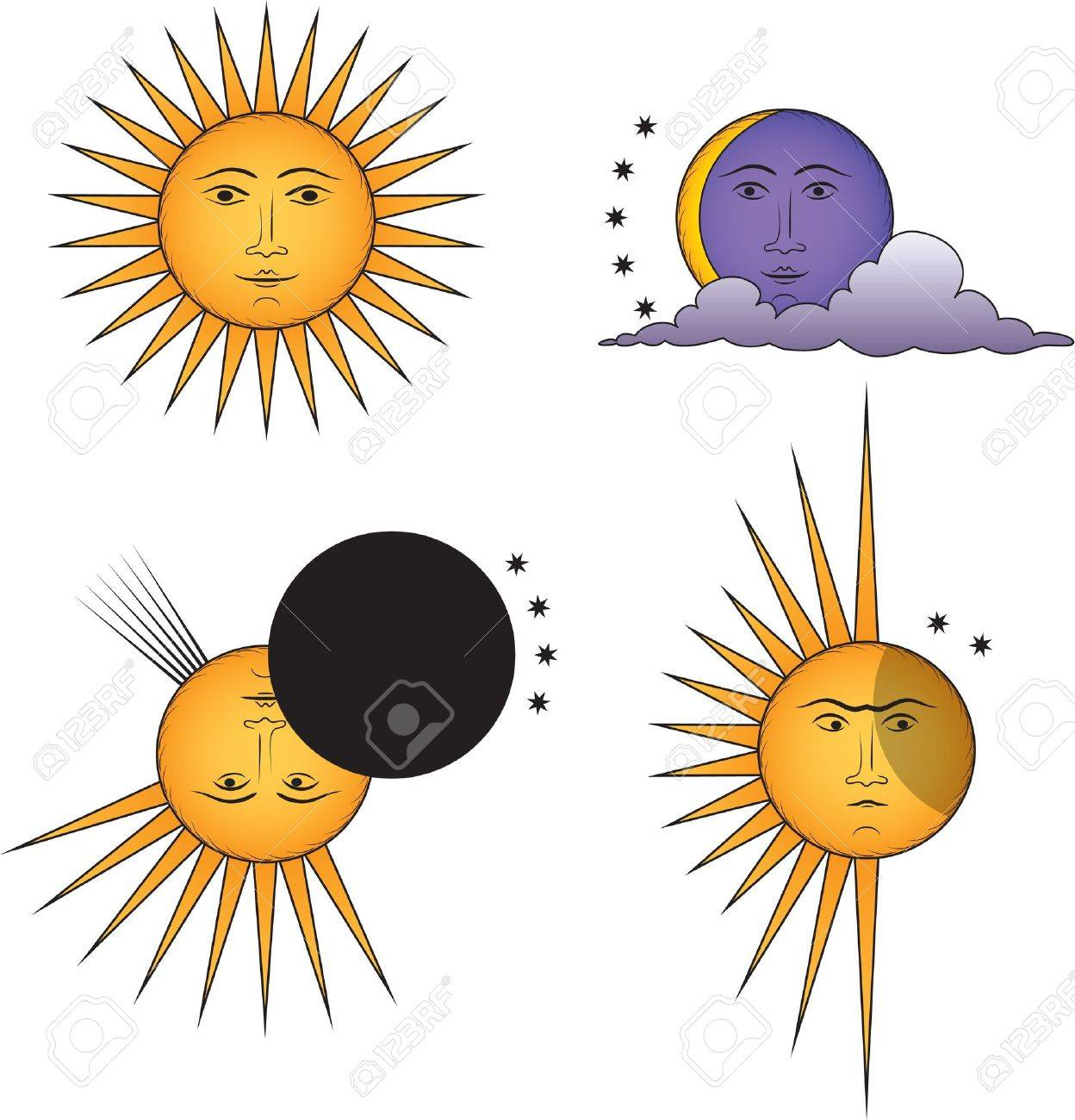Set of funny suns. Smiling Sun, Angry Sun, Moon, Solar Eclipse. Stock Vector - 12484561