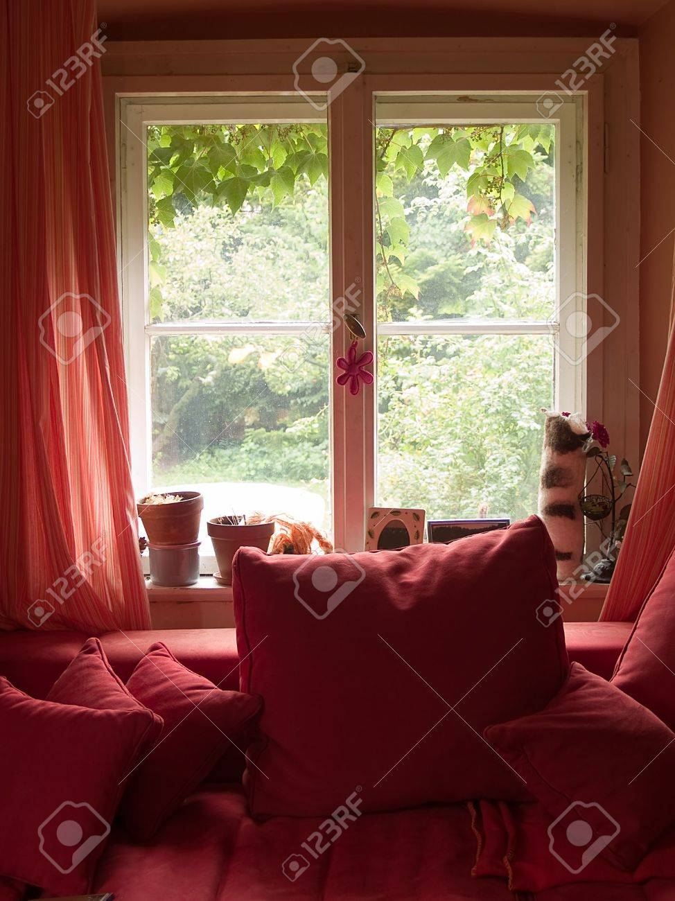 Fabulous Red Window With Red Sofa And Curtains Camellatalisay Diy Chair Ideas Camellatalisaycom