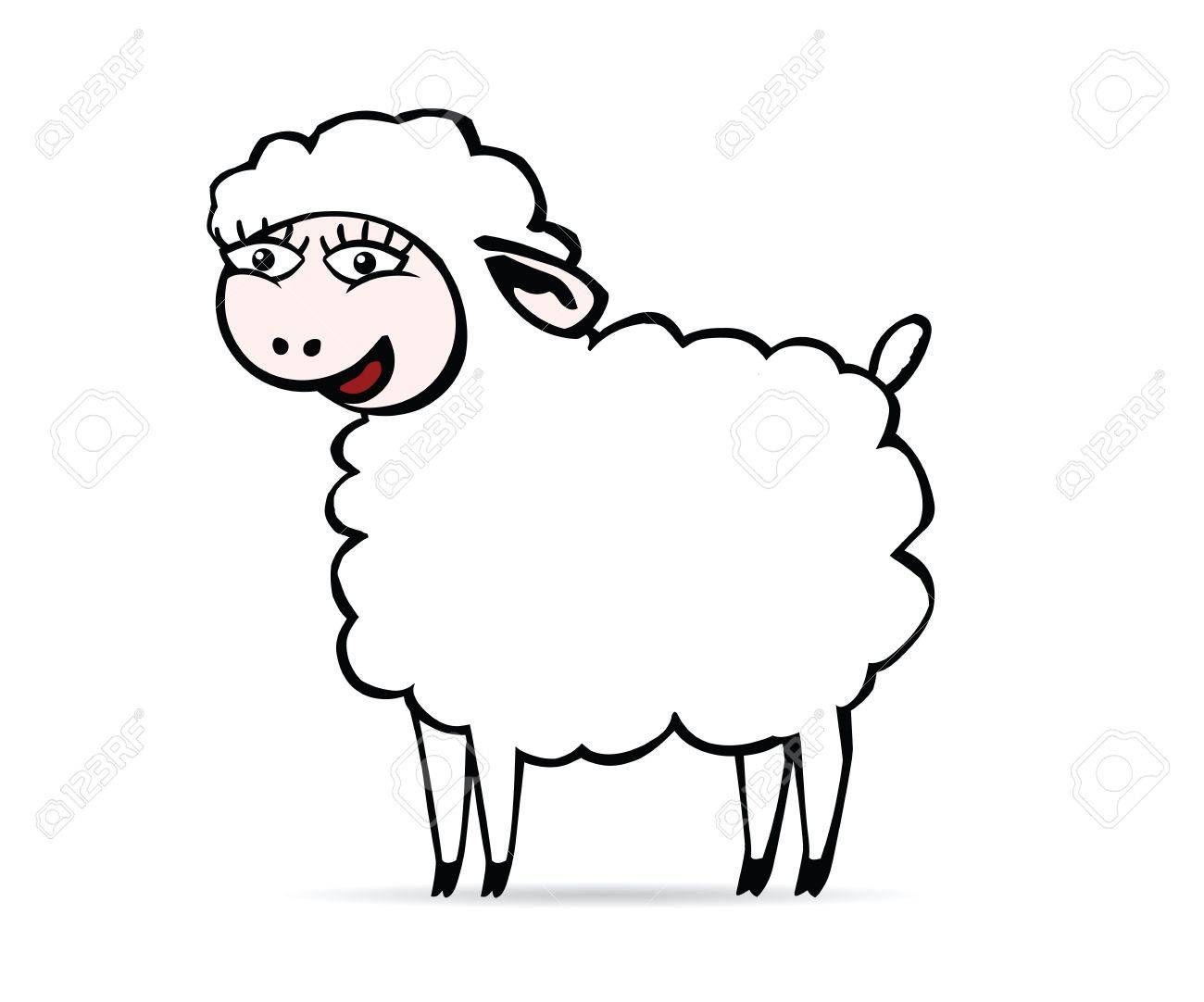 Sheep Eyes Drawing There is a White Smiling Sheep