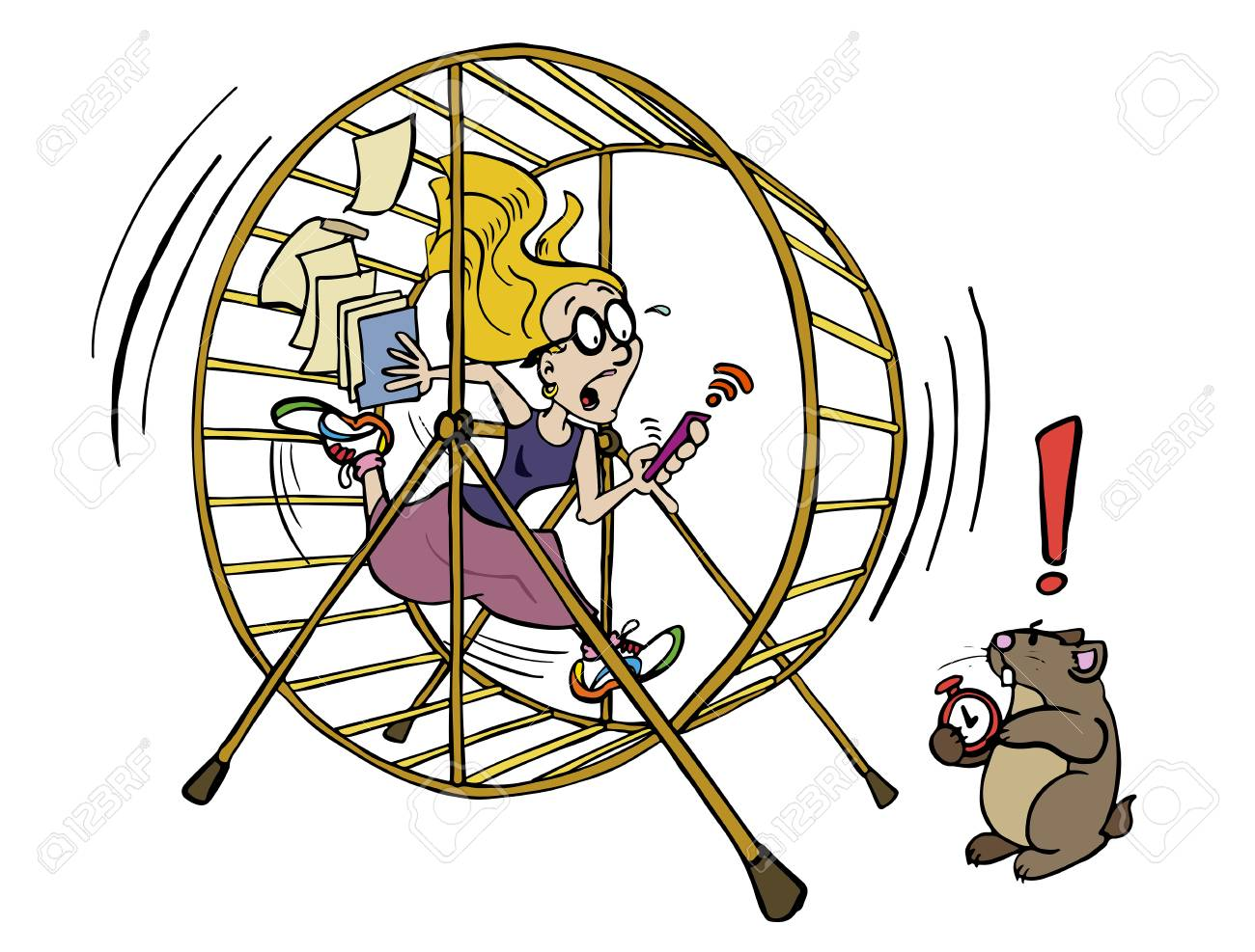 Running The Hamster Wheel Out Of Time Royalty Free Cliparts ...