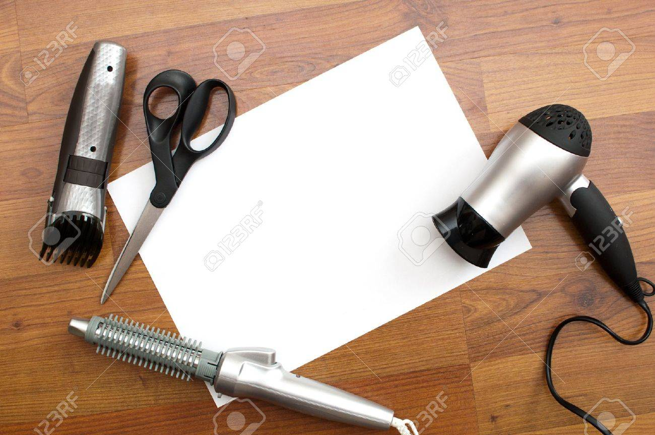 background,white card and barber tools Stock Photo - 14382385