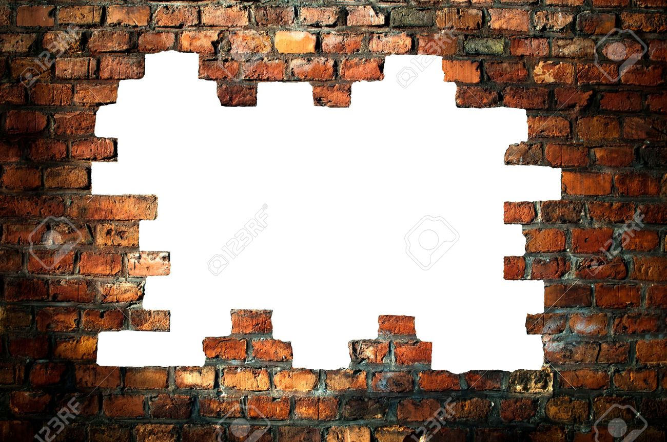 hole in an old brick wall Stock Photo - 14382445