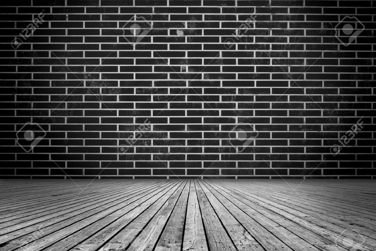 Black brick wall interior - Interior Design With Black Brick Wall Stock Photo 22994429