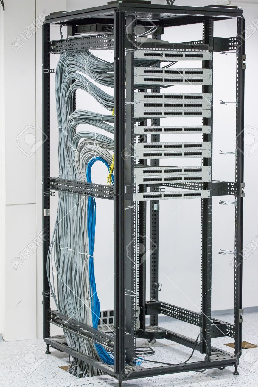 Cabinet With Patch Panel. Empty Slots RJ45 Stock Photo   47260705