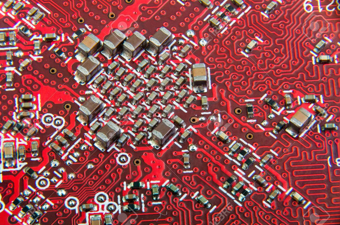 Electronic Circuit Board Close Up Red Pcb Stock Photo Picture And Royalty Free Image Of Background From 58336387