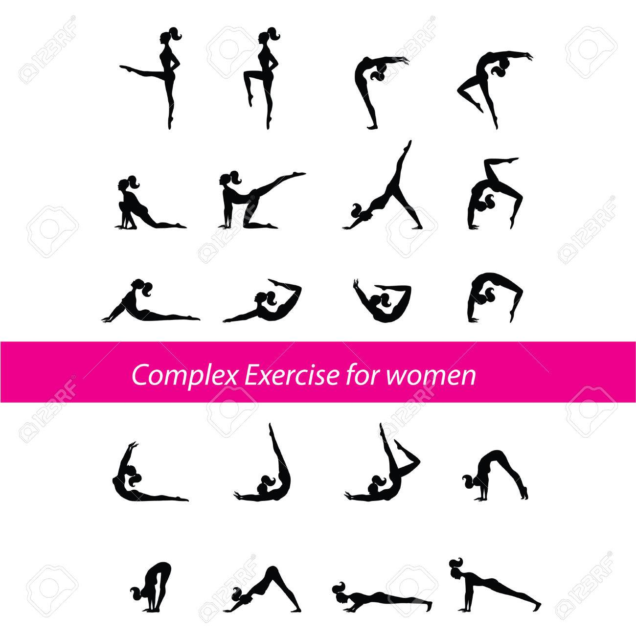 Complex Exercise for women Stock Vector - 8977566