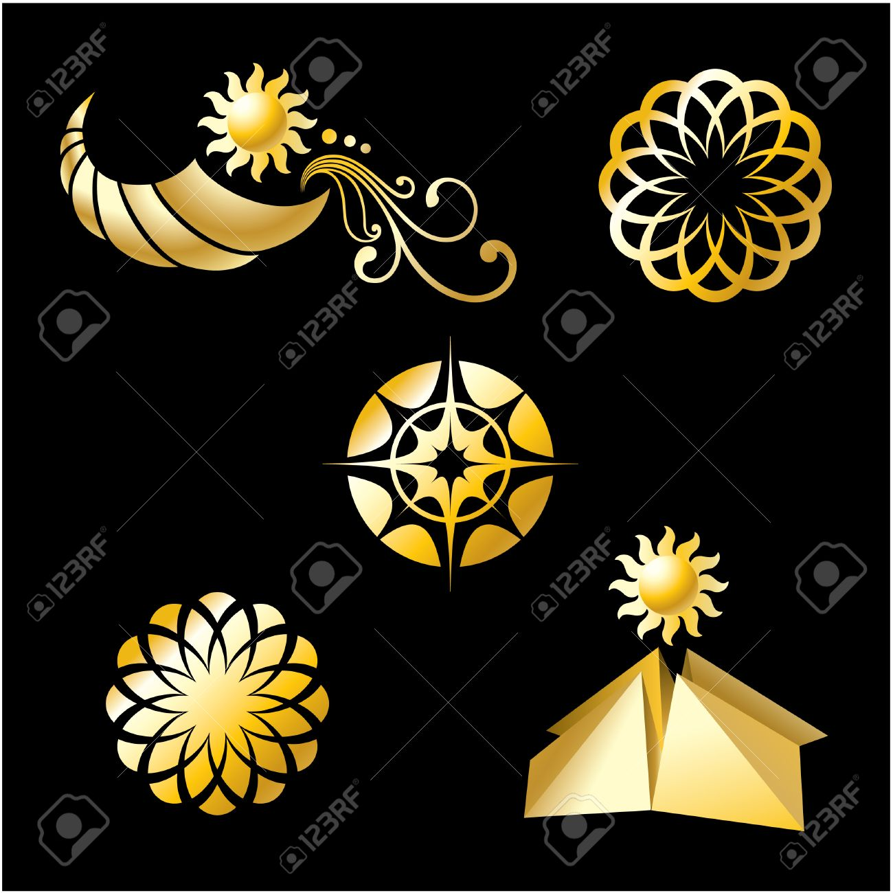 Set of corporate gold branding templates. Just place your own brand name. Stock Vector - 8977575