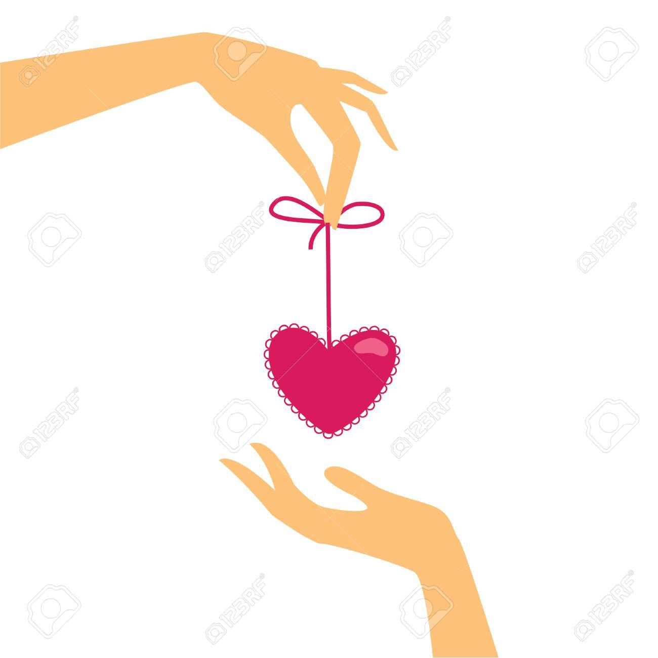 template for the cards with Valentine's Day - Heart Gifts Stock Vector - 8977432