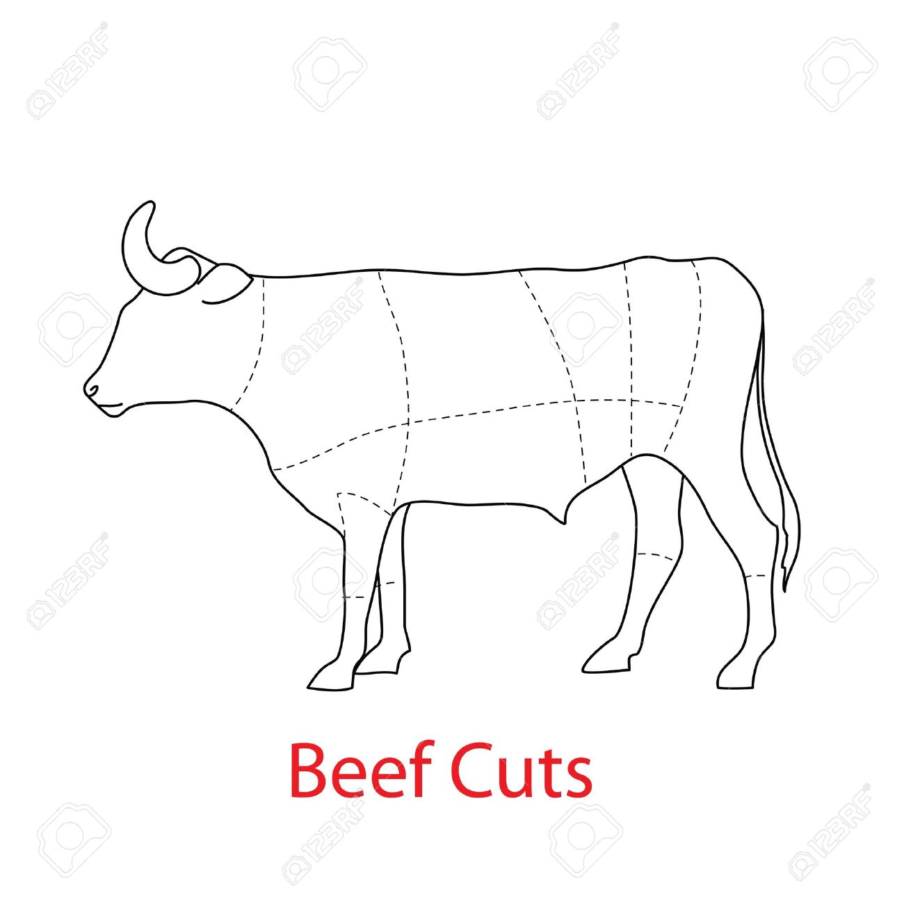 Scheme Of The Template - Beef Cuts. Royalty Free Cliparts, Vectors ...