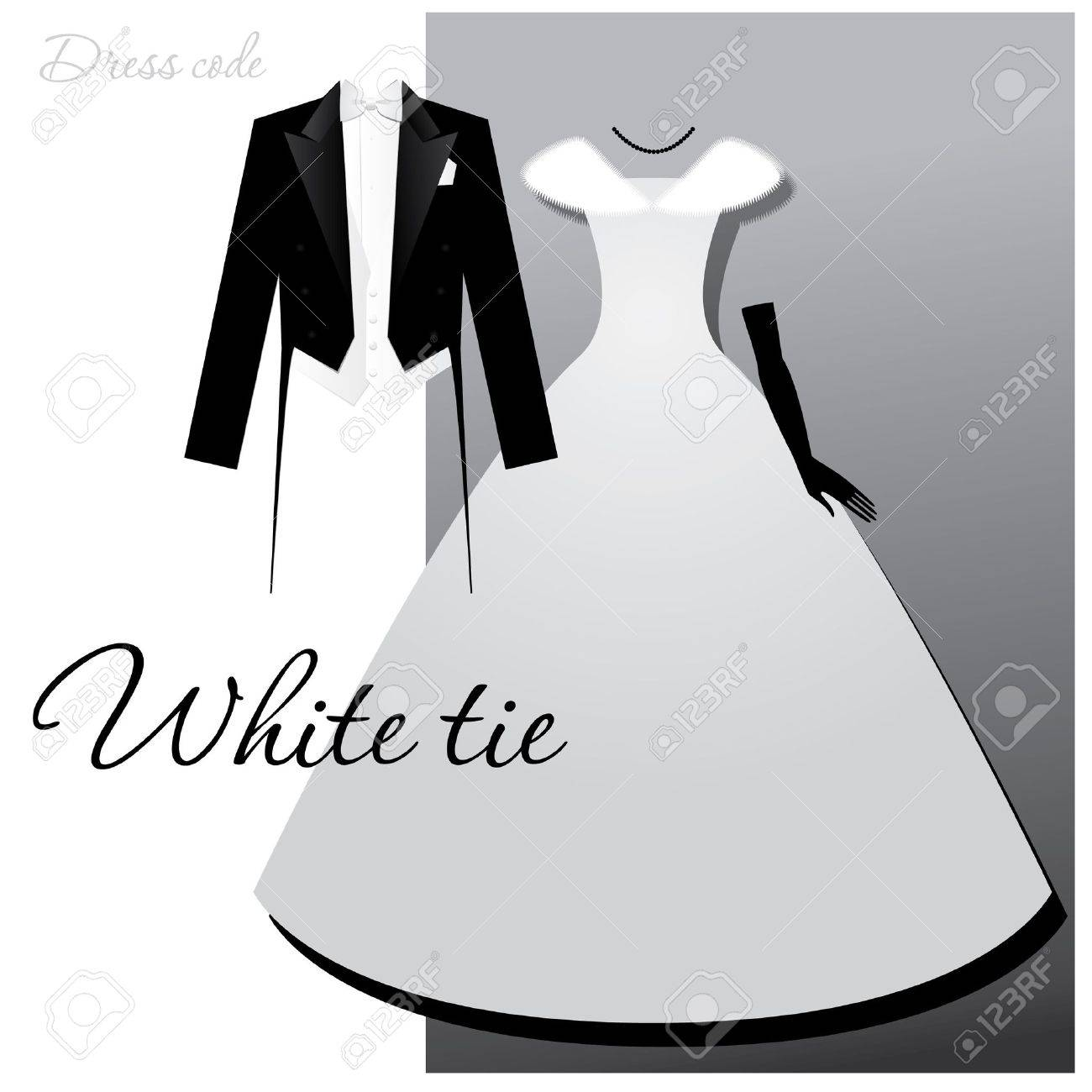 Dress code evening gown - Dress Code White Tie Male Tails Light Vest And White Bow Tie