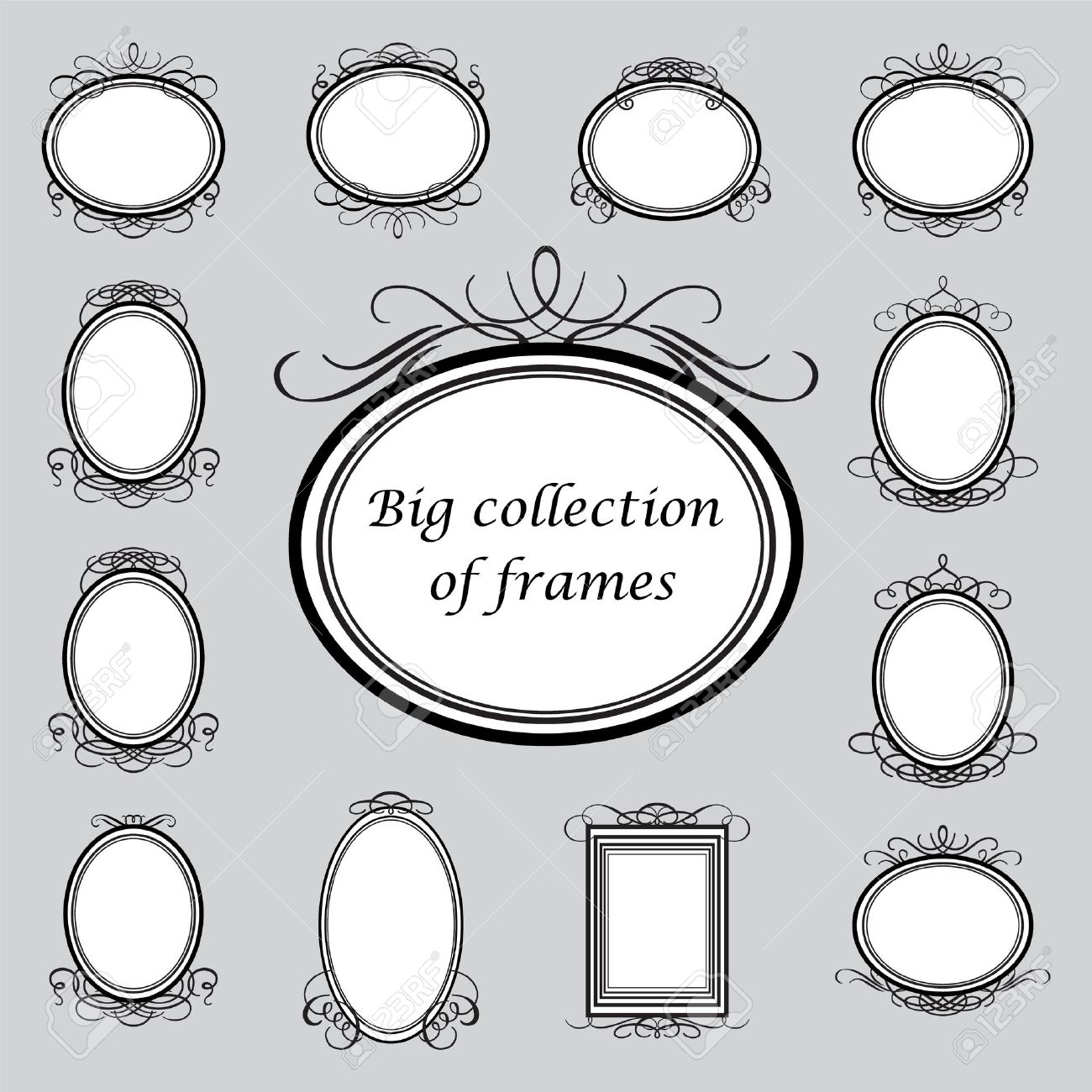 Big Collection Of Of Vintage Frames. Vector Template. Royalty Free ...