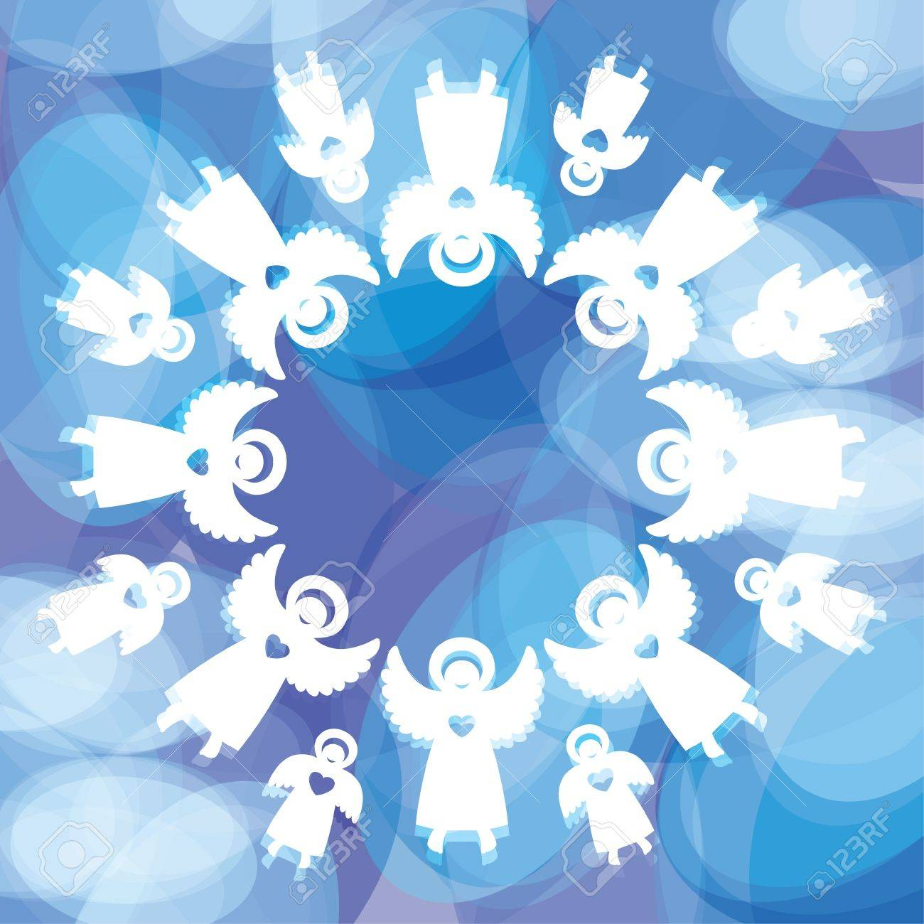 magical christmas background snowflake of the angels template