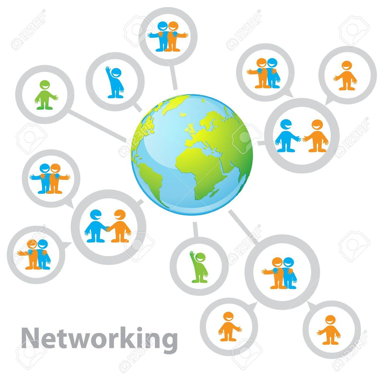 International Network - connecting people: information, business, friendship, communication of interests Stock Vector - 13762393
