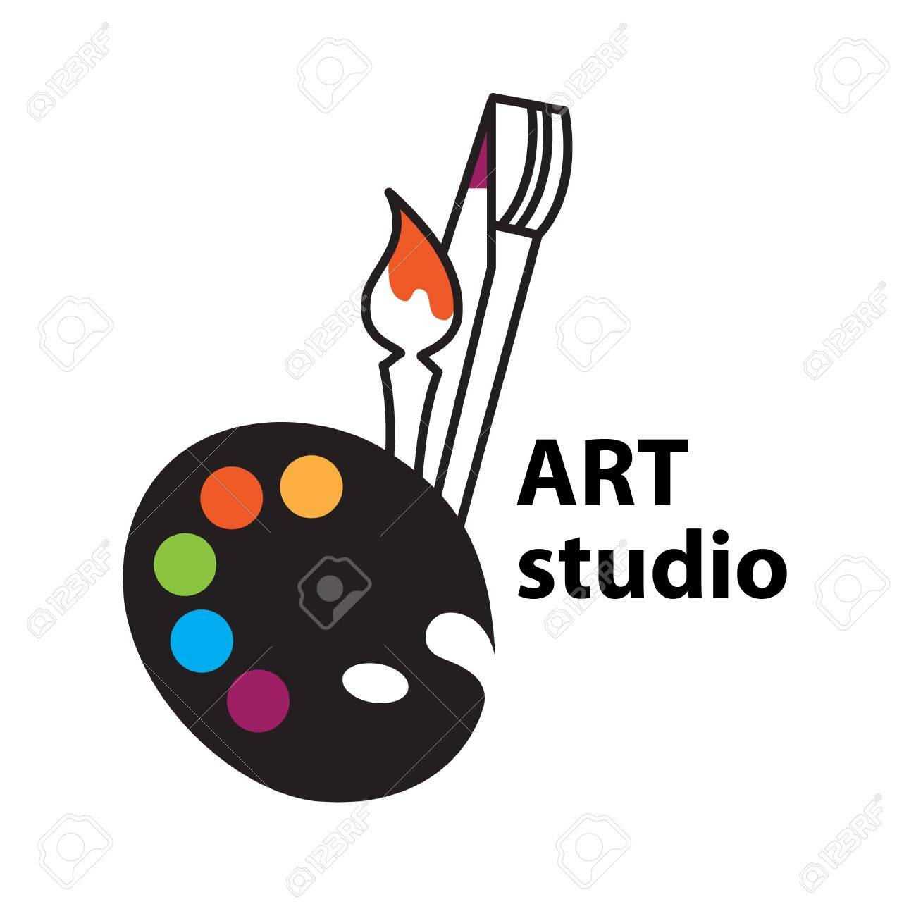 Art-studio sign - Brush and Palette Icon Stock Vector - 17249442