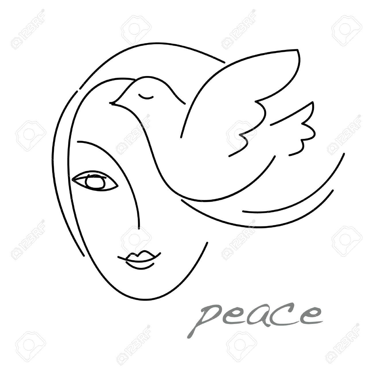 The sign - emblem of peace. A girl and a dove. Stock Vector - 17249433