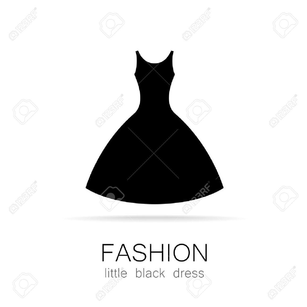 Negro Vestido - Moda Clásica. Logo Plantilla Para Una Tienda De Ropa ...