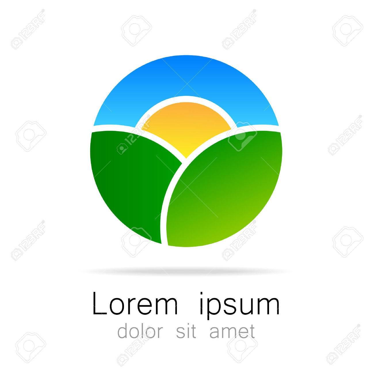 Ecológico Paisaje Natural - Plantilla De Logotipo Ecológico. Sun En ...