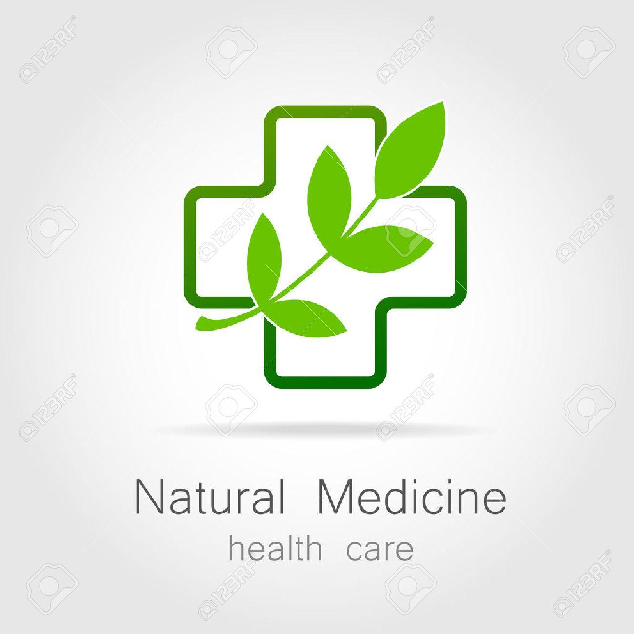 Natural medicine - a sign of eco bio treatment. Template for logotype alternative medicine, eco medicines, bio supplements, homeopathy, etc. - 43027026
