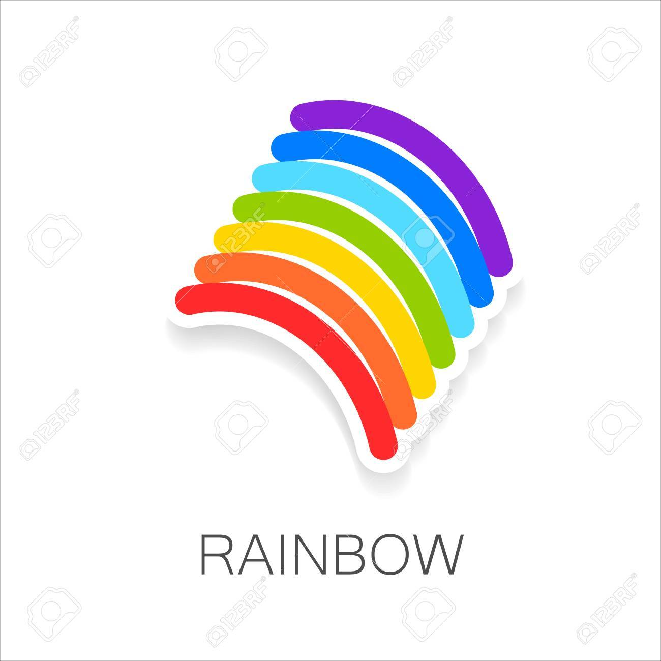 Rainbow Template | Rainbow Template Logo Symbol Of Happiness And Success Royalty