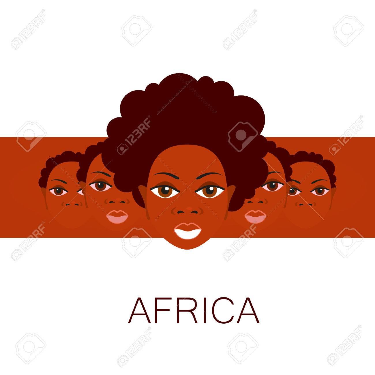 Retrato De Los Africanos. Idea De Diseño De Plantilla Para Las ...