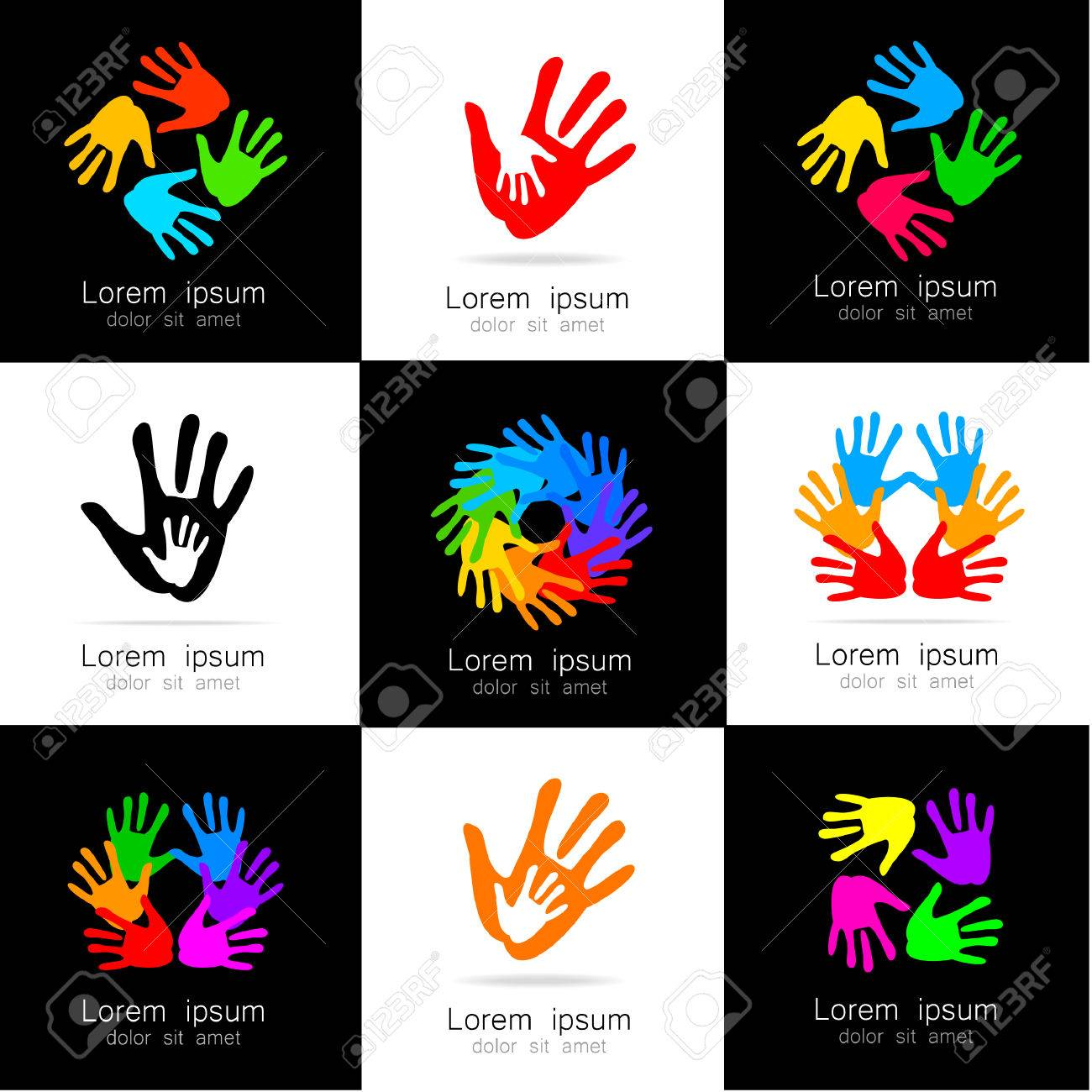 Hands - A Collection Of Logo Templates. Design Ideas For Team ...