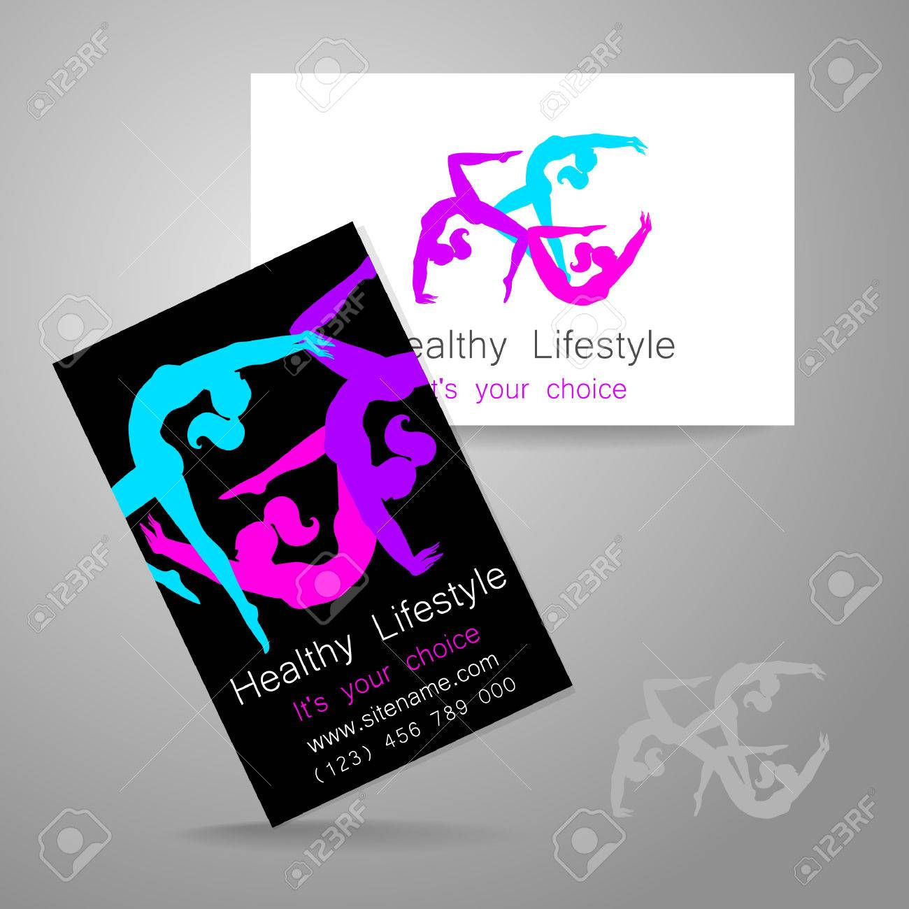 Fitness Logo Corporate Design Template Business Card Sports – Club Card Design