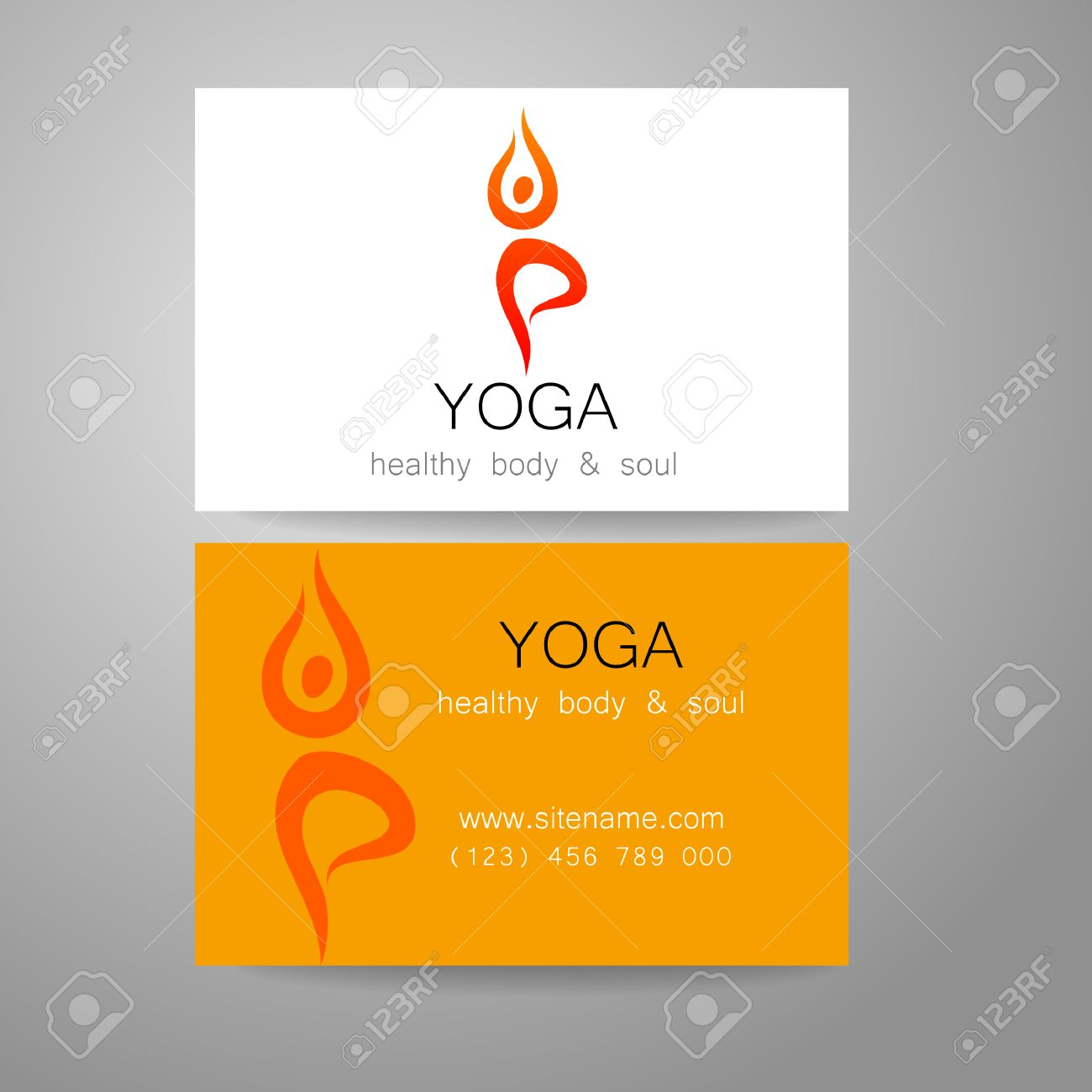 Colorful business cards logo ornament business card ideas etadam yoga logo sign design and business cards template for yoga colourmoves