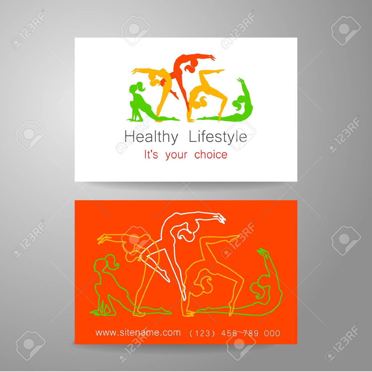 Fitness logo corporate design template business card sports corporate design template business card sports club fitness center beauty salon reheart Image collections