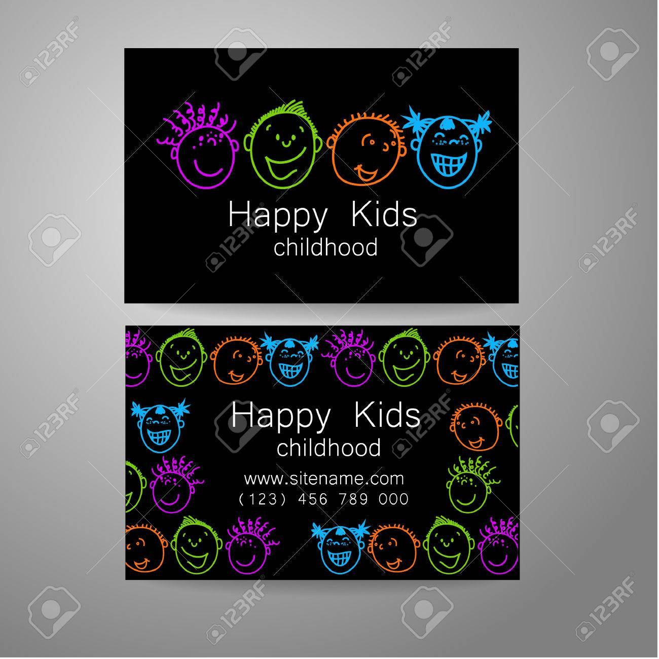 Happy children logo template design sign for school kindergarten branded business card happy children logo template design sign for school kindergarten summer camps childrens reheart Choice Image