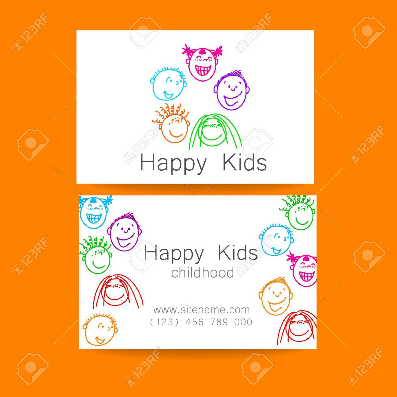 Happy Children Logo. Template Design Sign For School, Kindergarten ...