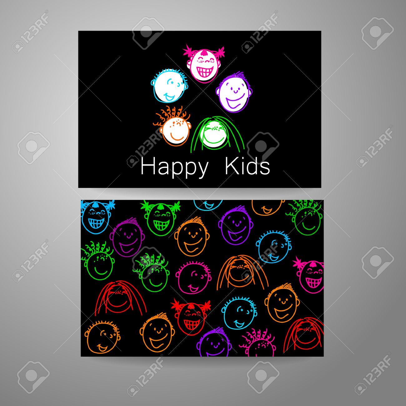Glückliche Kinder Logo. Template-Design Zeichen Für Schule ...