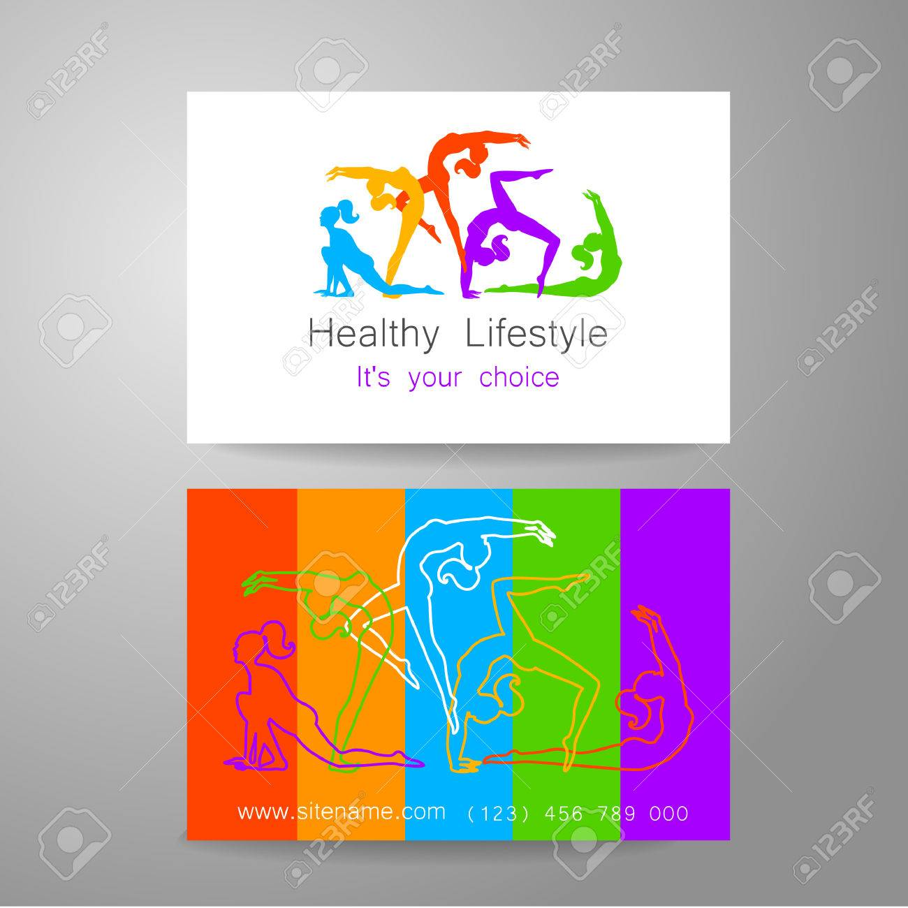 Fitness Logo Corporate Design Template Business Card Sports