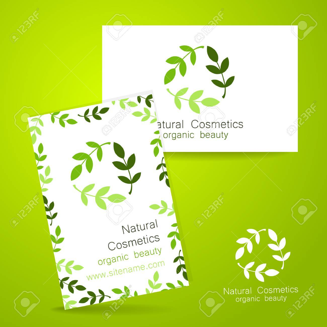 natural cosmetics logo template design for organic bio products