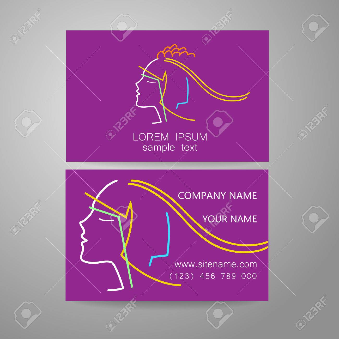 Hair Salon, Hairdresser - Template Logo. Branded Business Card ...