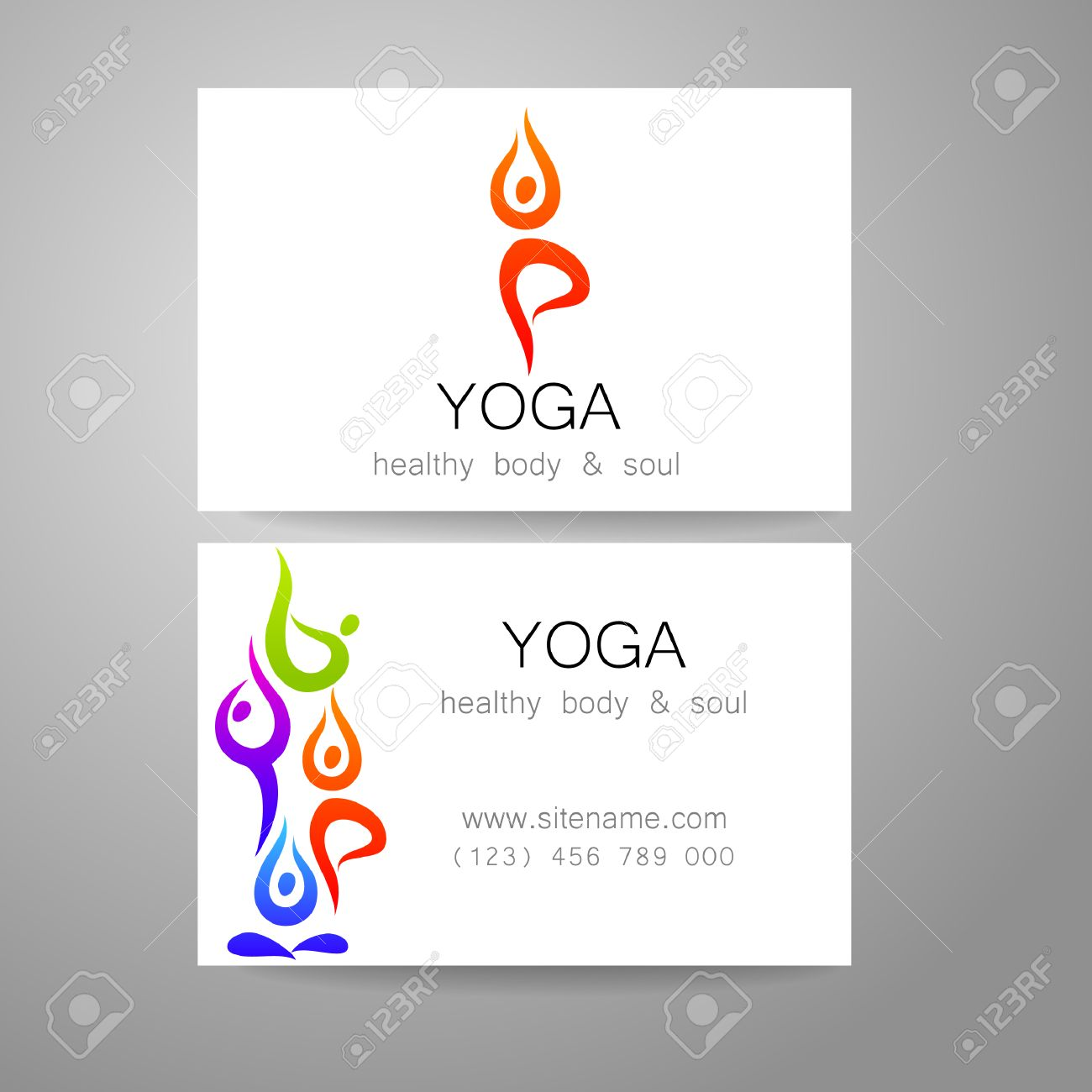 Yoga Logo Sign Design And Business Cards Template For Yoga