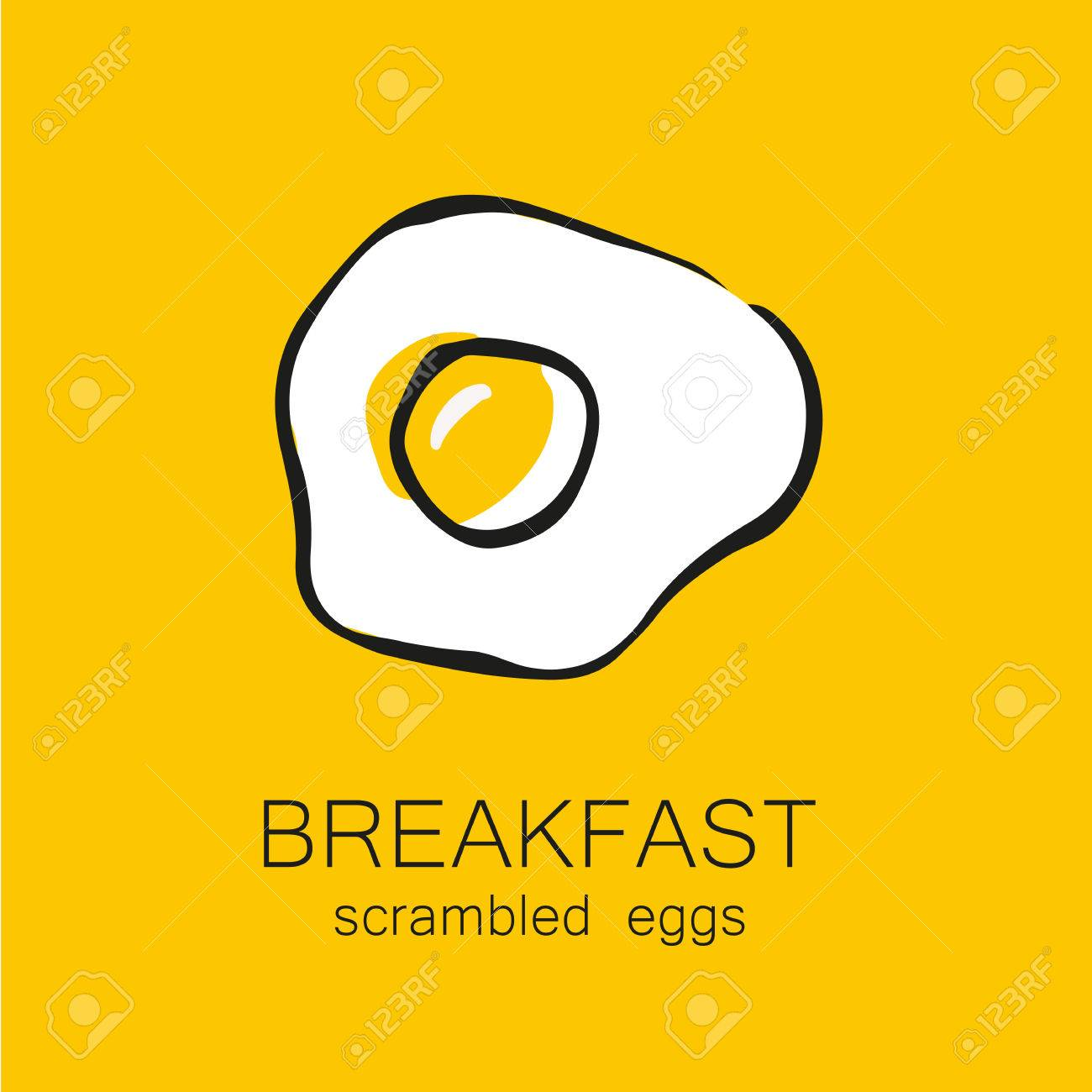 Breakfast - fried or scrambled eggs. Template design for the , menus, flyers for cafes, restaurants, fast food, food. - 46987612