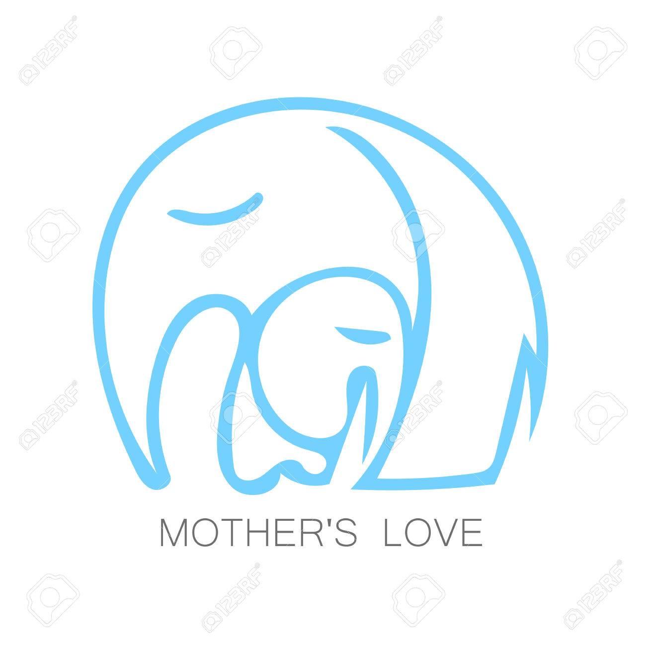 Moms Love Design Vector Illustration Mother Elephant Hugging