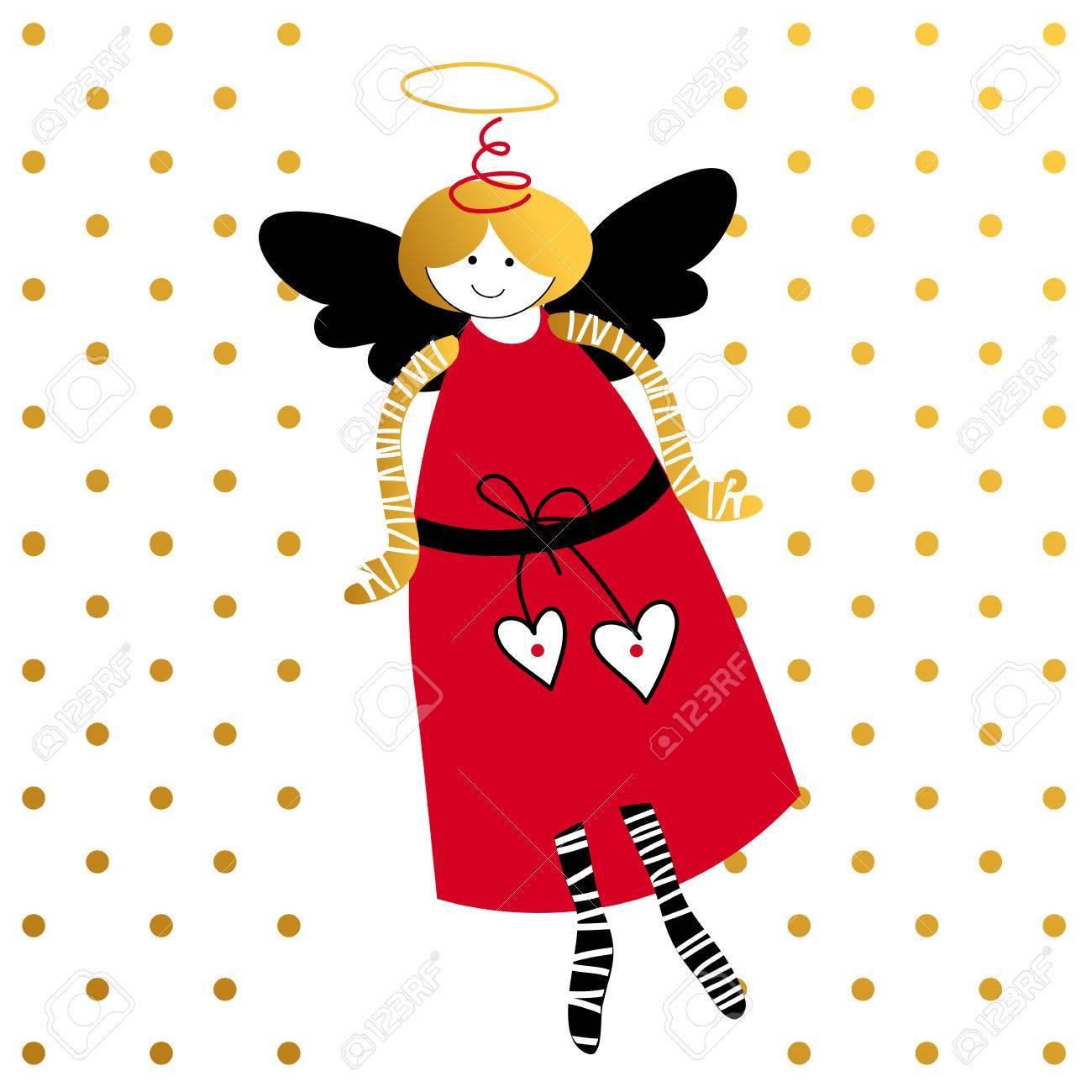 Fliegende Engel. Liebe Amor. Gruß-Karten-Schablone. Valentinstag ...