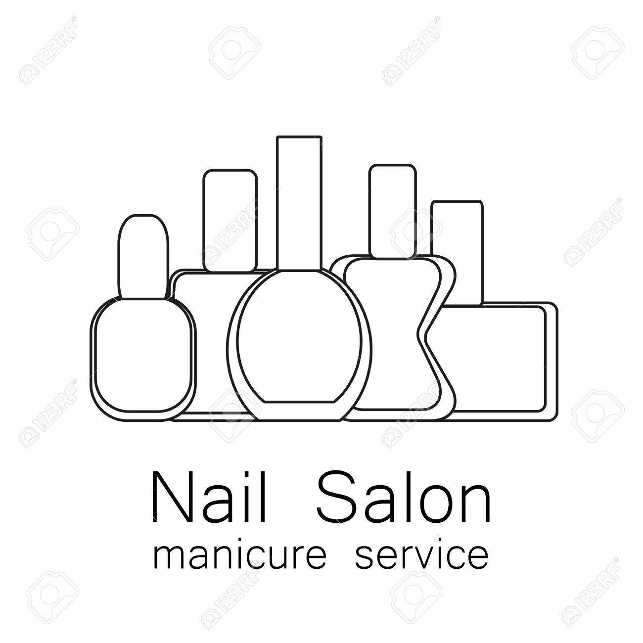 ネイル サロン アイコン。  ベクトルの爪のポーランド語のアイコン。マニキュアのシンボルです。白地にシンプルな線形なマニキュア。化粧品のラベルです。ベクトルの図。