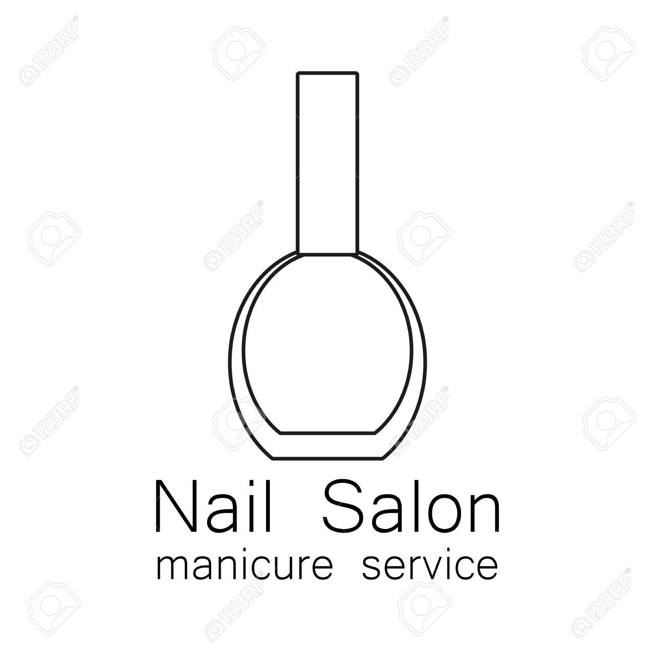 サロンのロゴを爪します。白地にシンプルな線形なマニキュア。美容業界、ネイルサロン、マニキュア サービス、スパ  ブティック、化粧品。化粧品のラベルです。ベクトルの図。